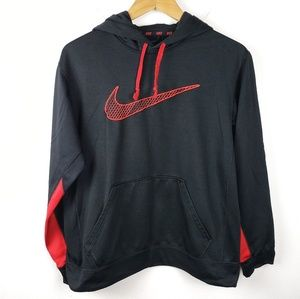 Nike | Therma Fit Black Red Pullover Hoodie Medium